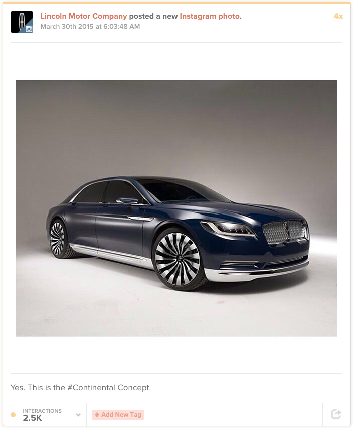 Lincoln's Continental Concept on Instagram