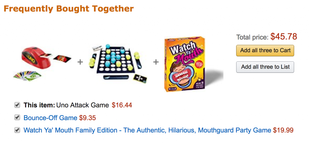 Example of product bundling from retail store Amazon.